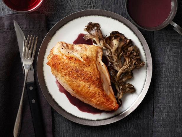 Roast Chicken & Mushrooms with a Red Wine Sauce